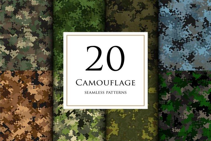20 Vector digital camouflage masking seamless pattern set