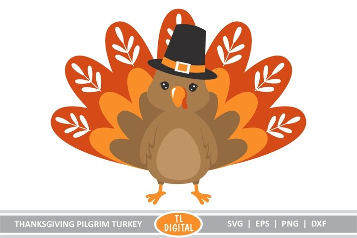 Thanksgiving Pilgrim Turkey - SVG|EPS|PNG|DXF - Cute Turkey