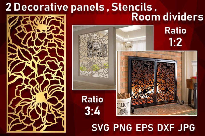 2 Floral Decorative panel Wall hanging room divider Stencil