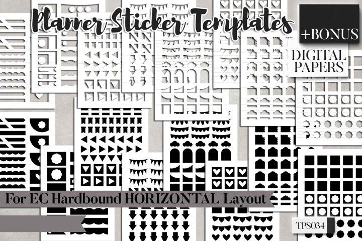 Planner sticker templates, EC Hardbound Horizontal