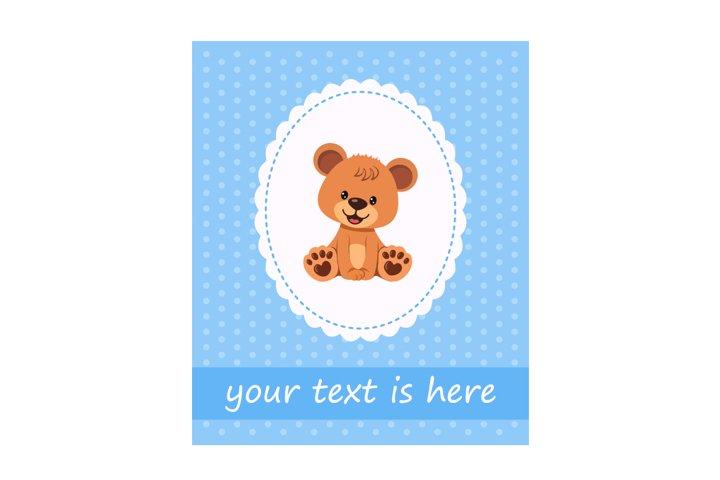 Character happy funny teddy bear boy on greeting card