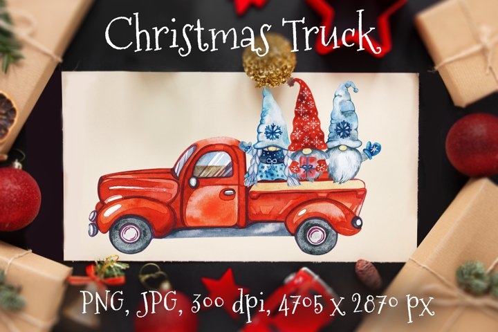 Gnomes Christmas. Gnome Truck. Red Truck Christmas