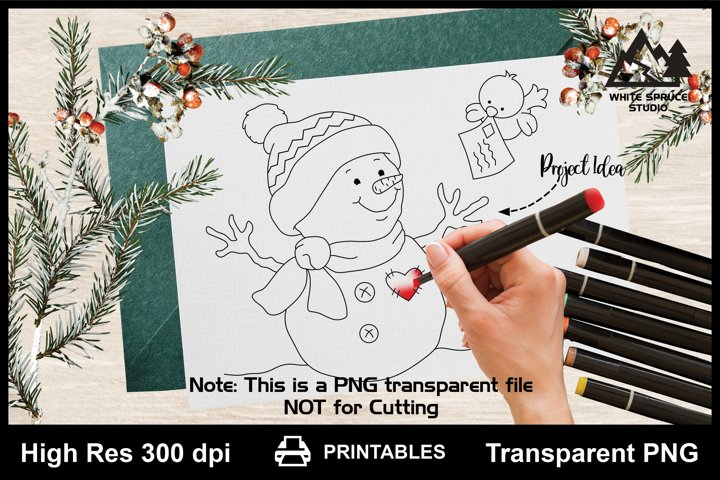 Cute Bird Bringing Mail For Snowman Printable Line Art PNG