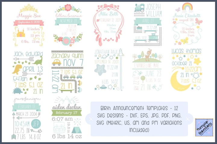 Birth Annoucements - SVG, Clipart, Printables