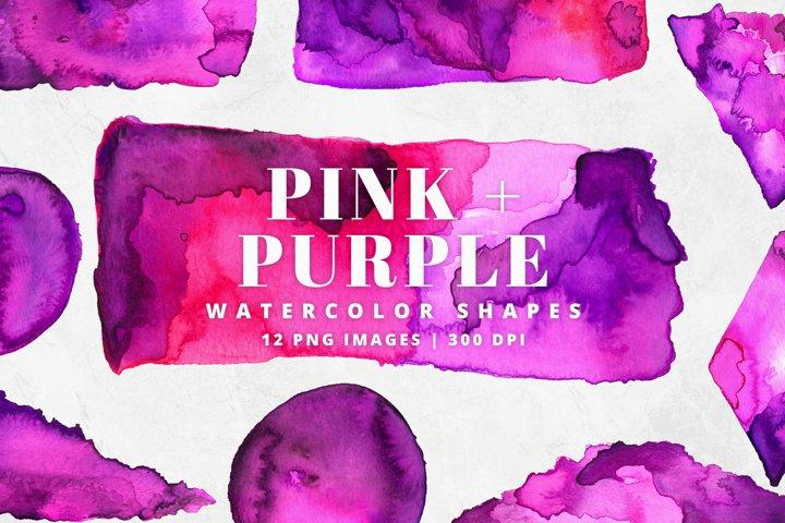 Pink & Purple Watercolor Shapes | 12 Pc