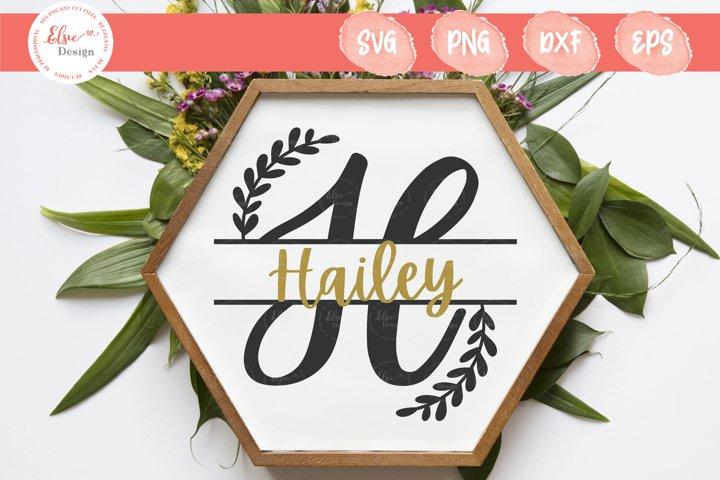 Handlettered Split Monogram H SVG Cut Files