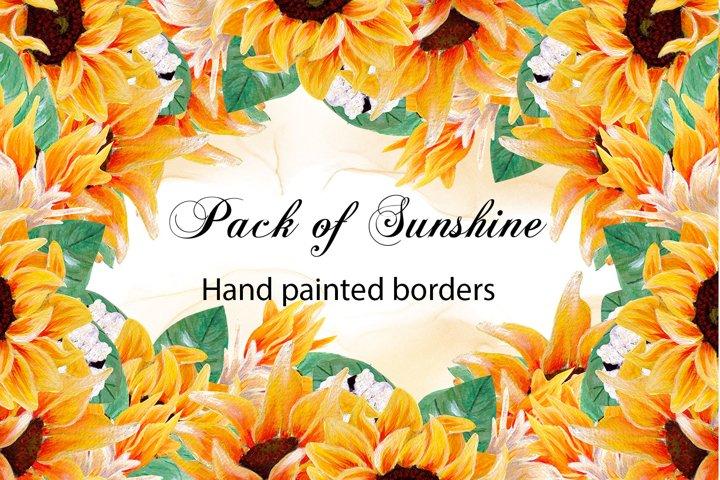 Pack of sunshine- hand painted sunflower borders