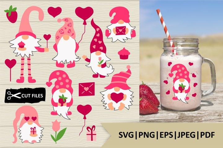 7 Valentine cute gnomes cliparts, SVG files