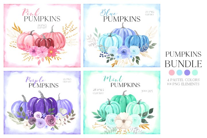 Watercolor Pastel Pumpkins Bundle