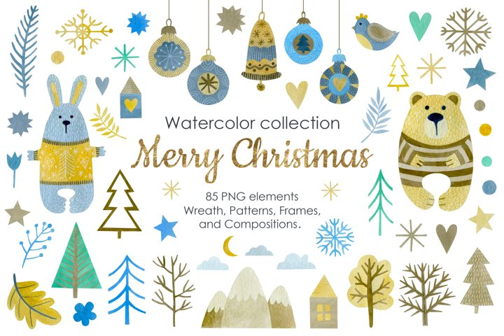 Watercolor Merry Christmas Clipart, Wreath, Patterns.