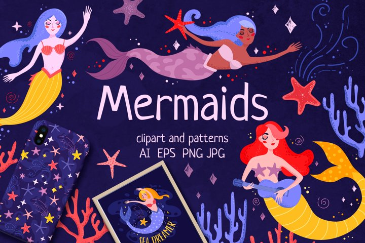 Mermaids. Clipart and patterns set