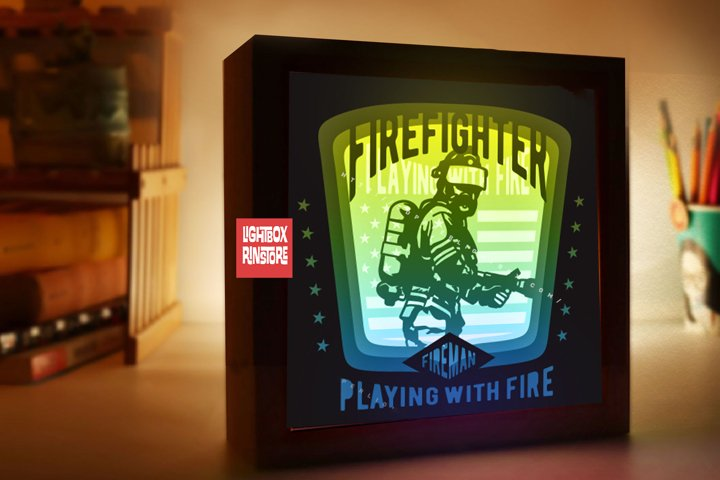 #174 Fireman , 3d paper cut light box