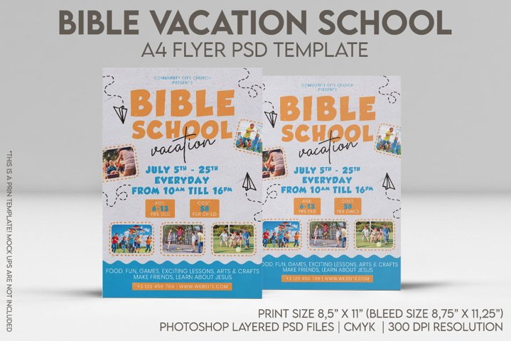 Bible Vacation School A4 Flyer PSD Template