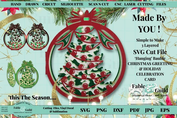 Christmas Tree Card SVG - 3D Layered Bauble Fun Cutting File