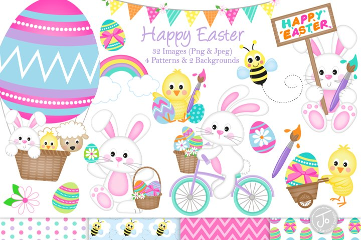 Easter bunny clipart, easter graphics & illustrations -C33