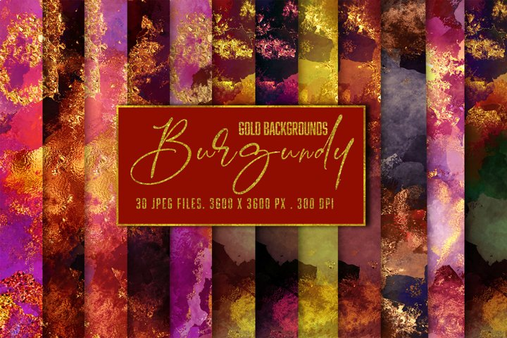 Burgundy & Gold Textures Bundle. Sparkling Watercolor Pack