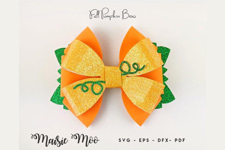 Halloween Pumpkin Bow SVG, Fall Harvest Bow Template