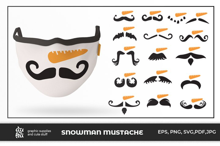 16 Snowman Mustache for Mask design Bundle
