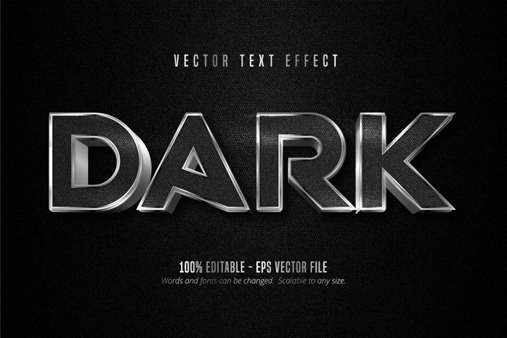 Dark text, metallic silver style editable text effect