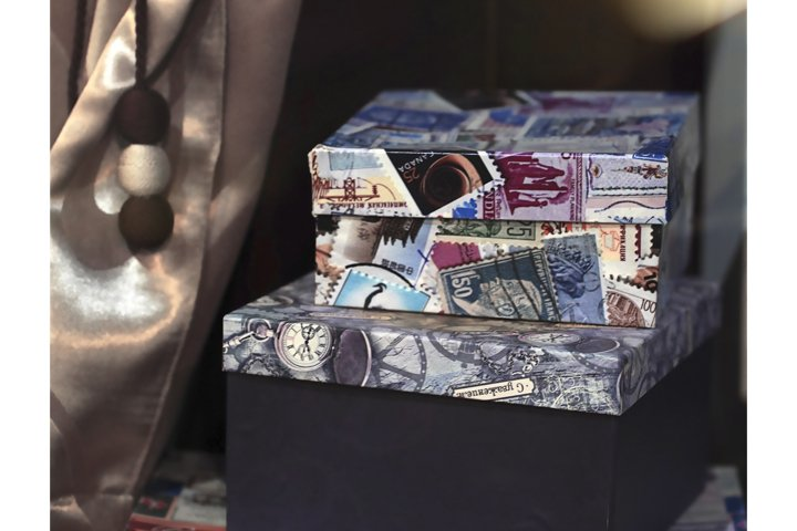 Blured christmas background, present gift boxes.