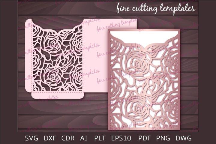 Laser cut Roses Wedding 5x7 pocket envelope template svg