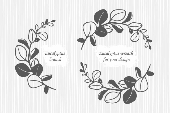 Eucalyptus branch and eucalyptus wreath svg files