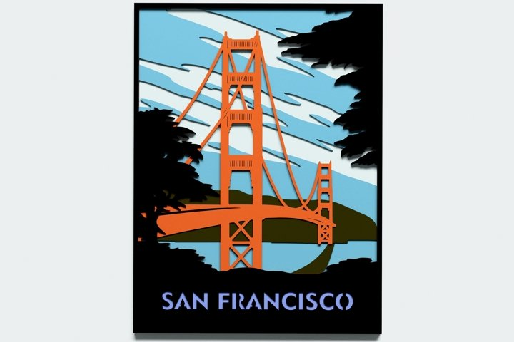 Multilayer San Francisco Poster svg, Vector file for cutting