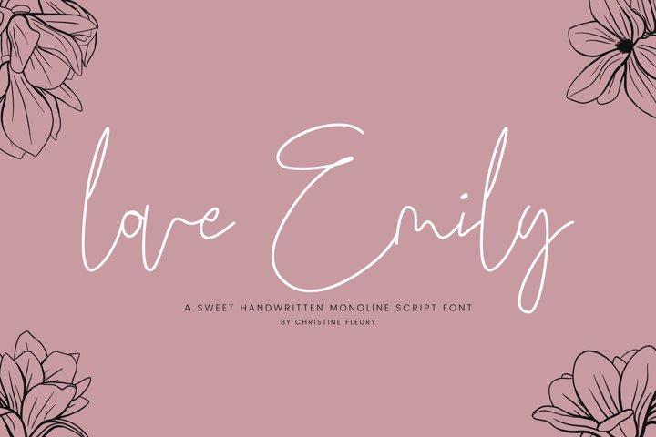 love Emily - A sweet handwritten monoline script font