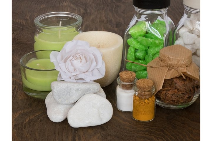 Aromatherapy and body care on wooden surface. SPA still life