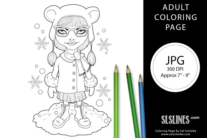 Cute Winter Hipster Girl Adult Coloring Page