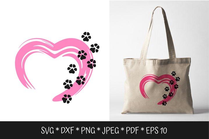 Paw print love SVG. Puppy dog paws SVG.