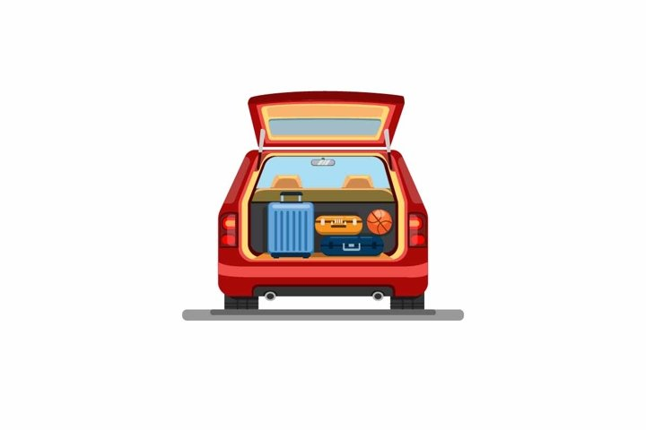 Suitcase luggage on trunk car. from back view vector