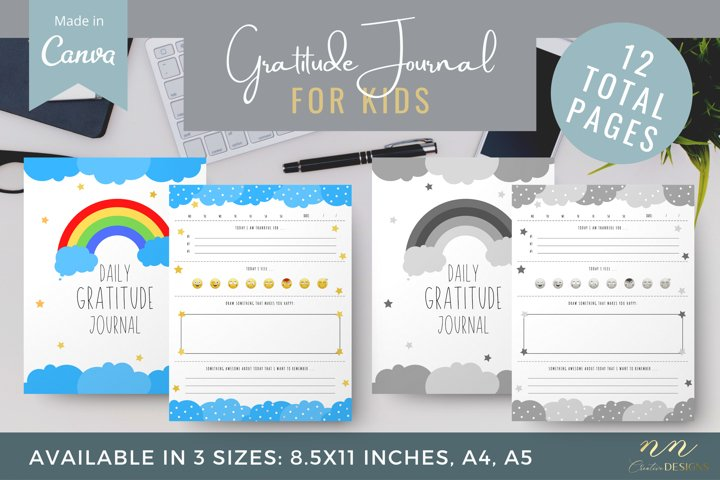 Kids Gratitude Journal Canva Template for Printable Products
