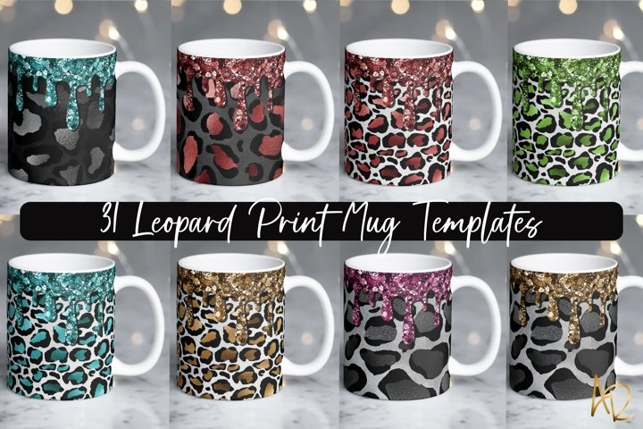 Leopard Print Mug Template Bundle | Dripping Glitter