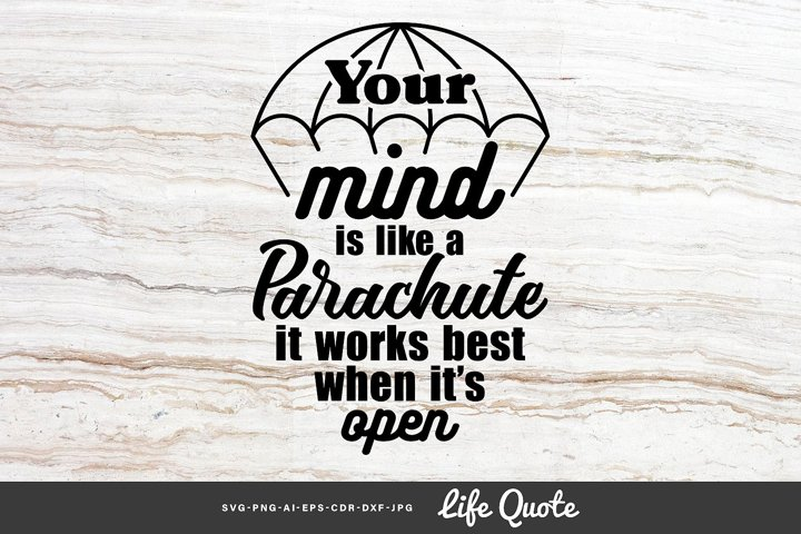 Your mind is like a parachute - Quote
