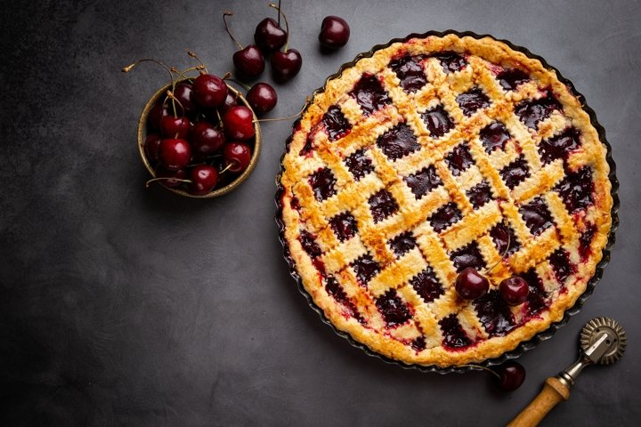 Photo of Piece of Delicious homemade classic cherry pie
