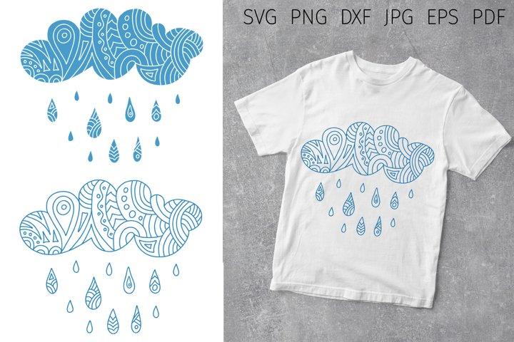 Cloud with drops svg cut file. Fall svg silhouette. Rain pdf