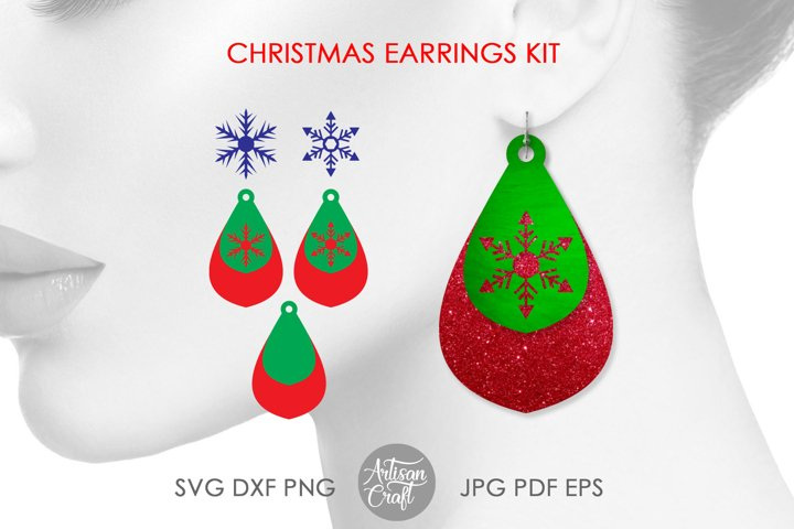 Snowflake earring SVG, Christmas earrings