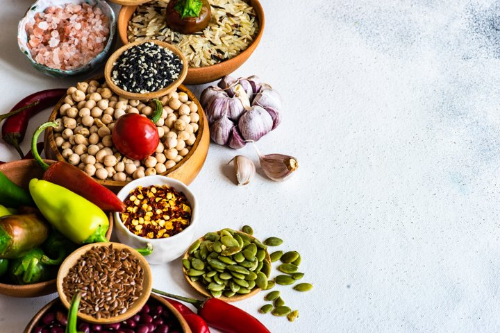 Healthy food concept with raw cereals and spices