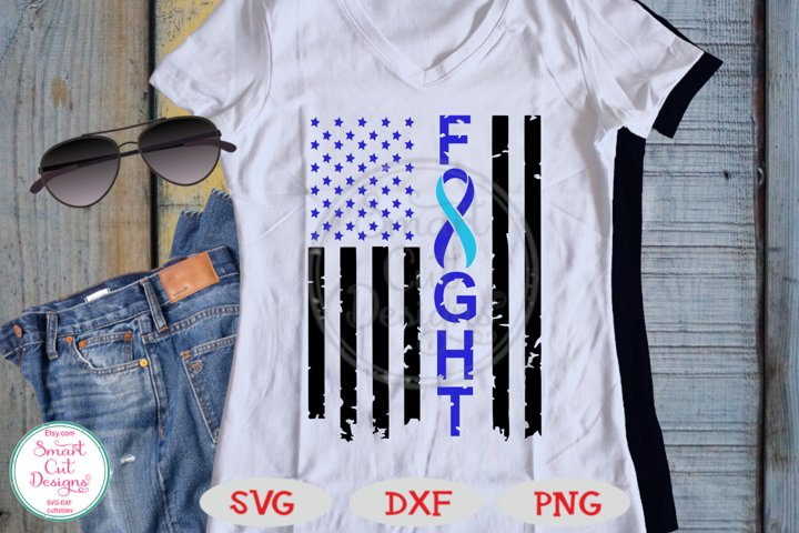 Fight Grunge Flag SVG, Hydrocephalus Awareness SVG, US Flag