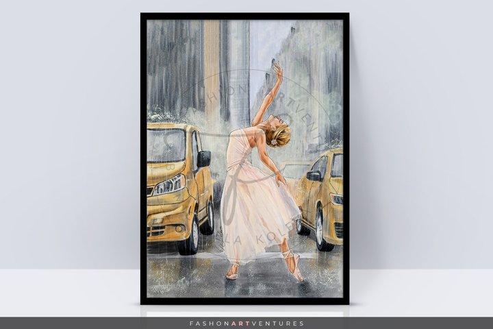 Dancing in the rain - hand-drawn Art print, ballerina art