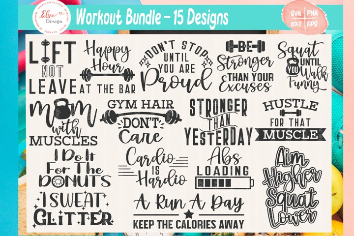 Workout Bundle - Fitness Bundle SVG Cut Files