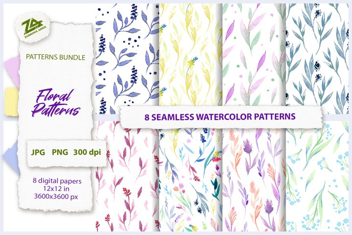 8 Seamless Watercolor Floral Patterns