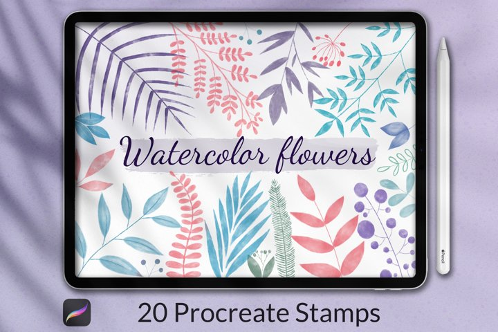20 Watercolor Stamp Brushes for Procreate, Floral stamps