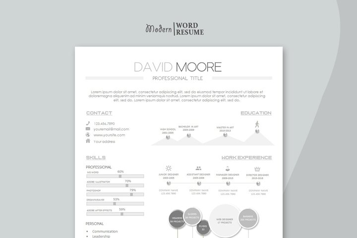 One page Resume template Cover Letter and Reference page