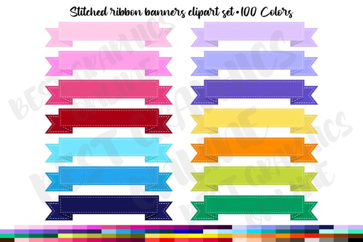 100 Stitched Banners Clipart Set, Curved banners, Labels