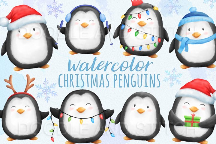 Christmas Penguins Watercolor Illustrations