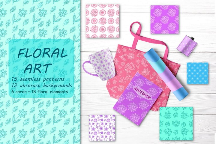 Floral Clipart and Digital Paper Pack- Flowers \ Vector, Jpg