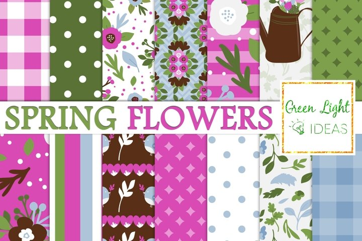 Spring Flowers Digital Paper, Floral Mothers Day Background