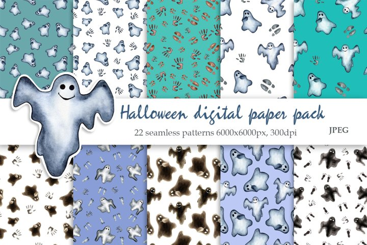 Watercolor Halloween Seamless Patterns. Digital paper pack
